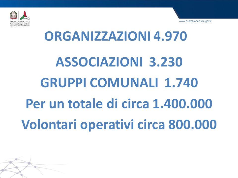 Volontari operativi circa 800.000