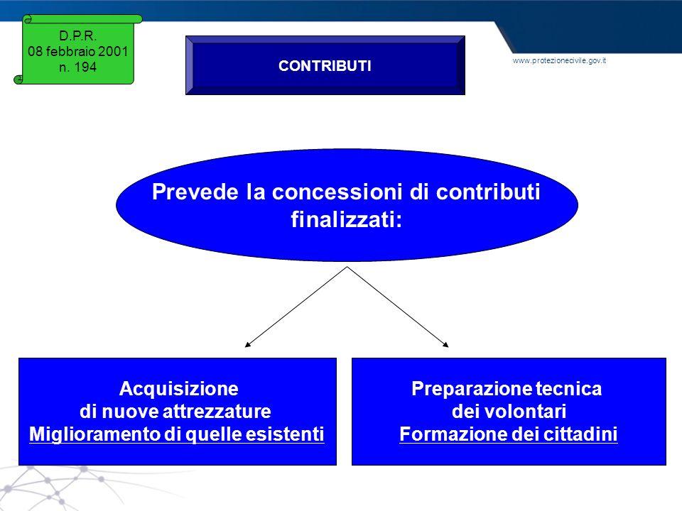Prevede la concessioni di contributi finalizzati: