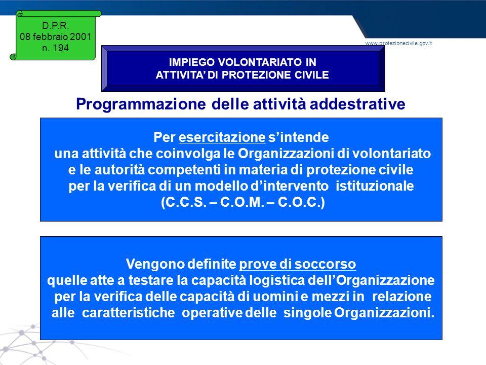Programmazione delle attività addestrative