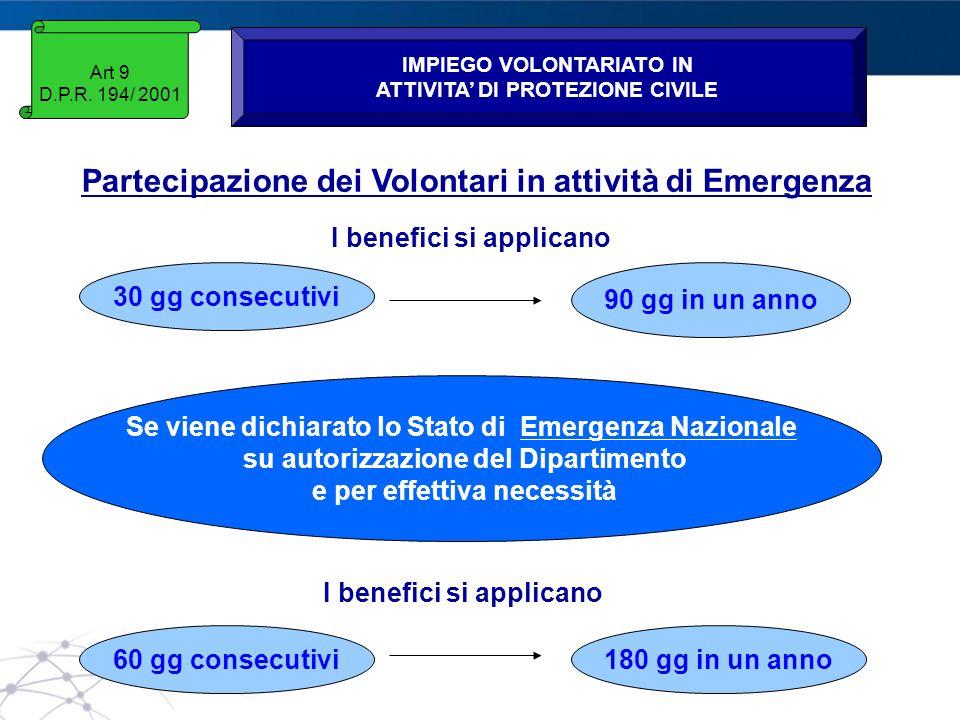 Partecipazione dei Volontari in attività di Emergenza