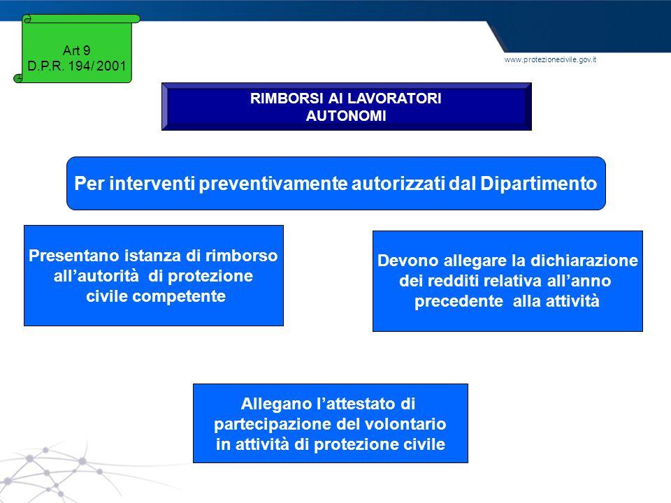 Per interventi preventivamente autorizzati dal Dipartimento