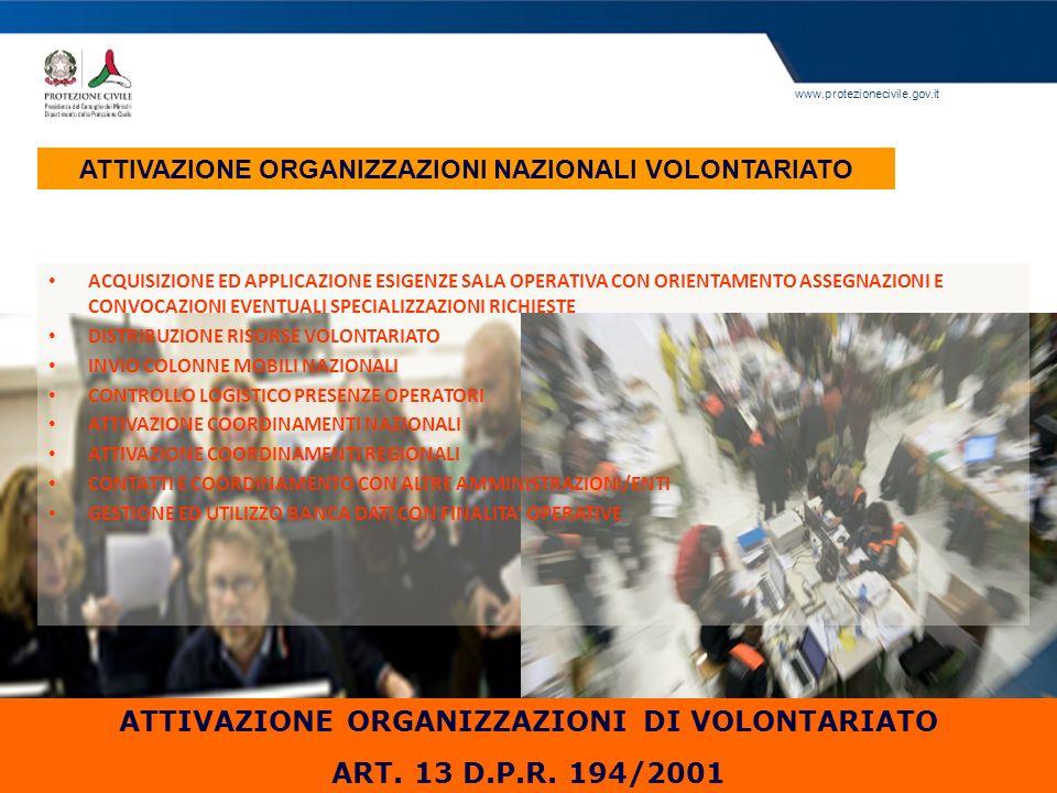 ATTIVAZIONE ORGANIZZAZIONI DI VOLONTARIATO ART. 13 D.P.R. 194/2001