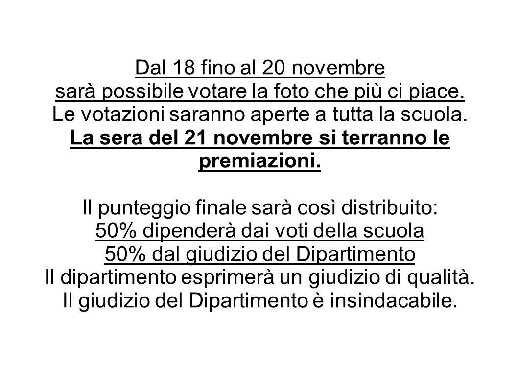 La sera del 21 novembre si terranno le premiazioni.