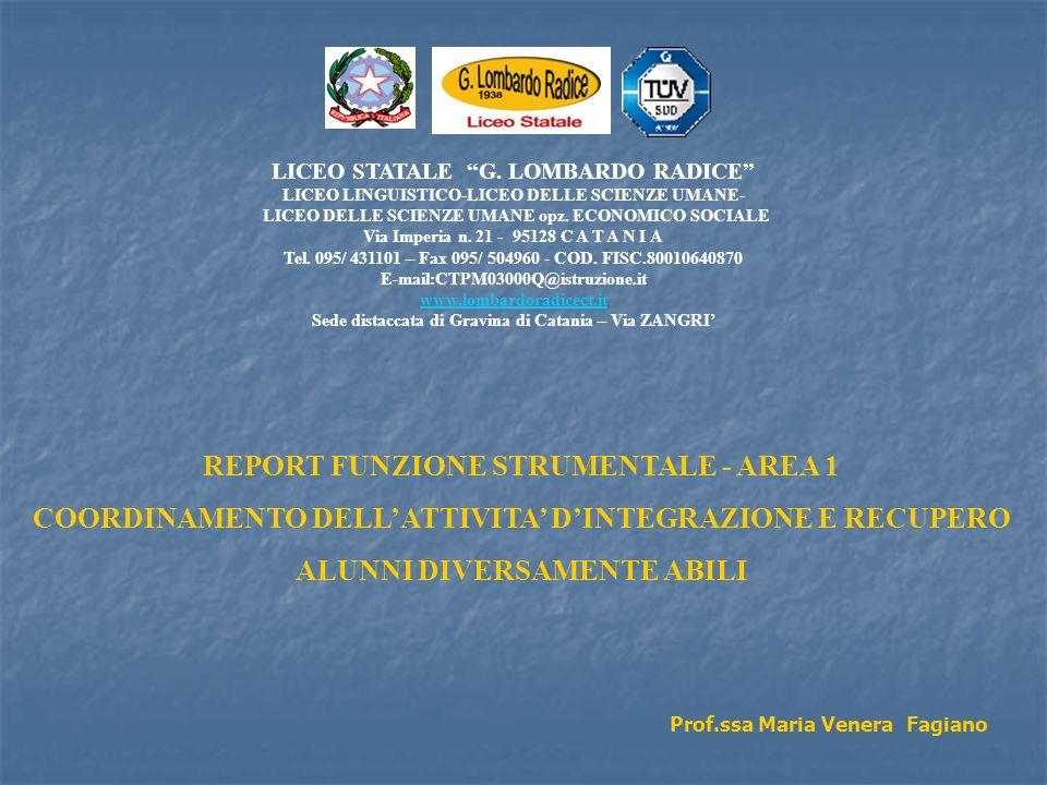 REPORT FUNZIONE STRUMENTALE - AREA 1