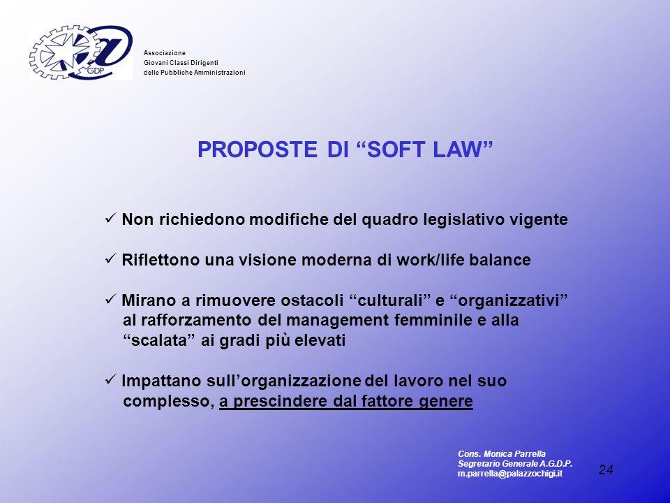 Associazione Giovani Classi Dirigenti. delle Pubbliche Amministrazioni. PROPOSTE DI SOFT LAW