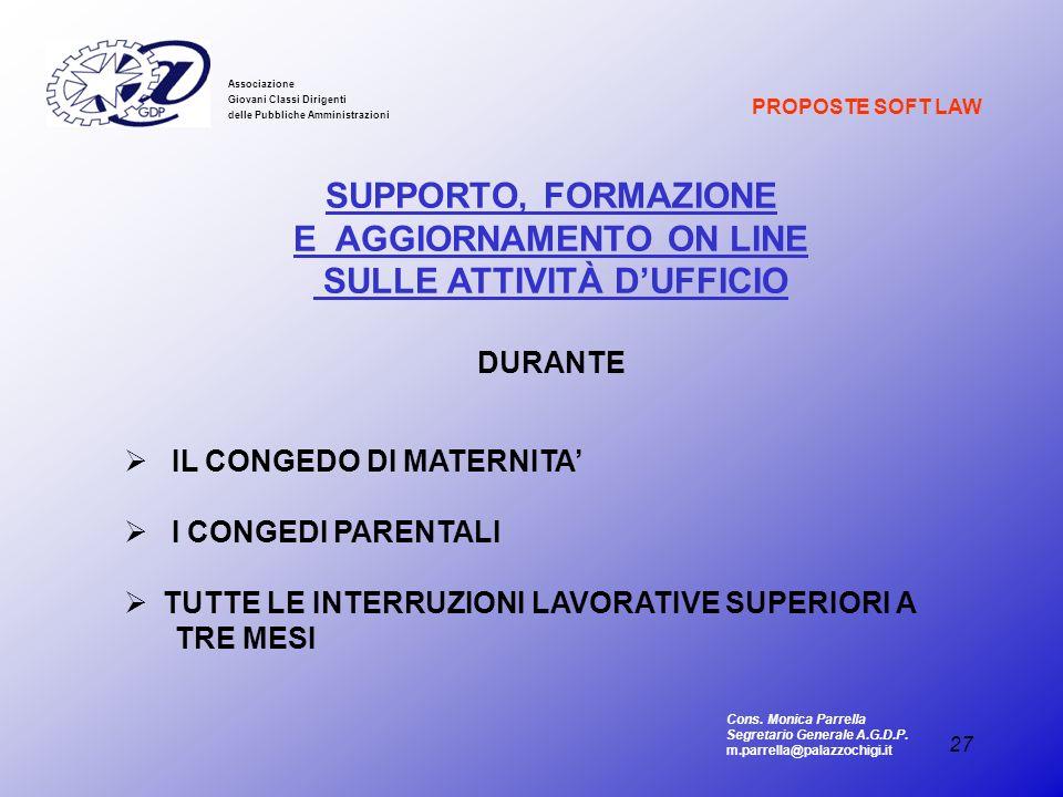 E AGGIORNAMENTO ON LINE SULLE ATTIVITÀ D'UFFICIO