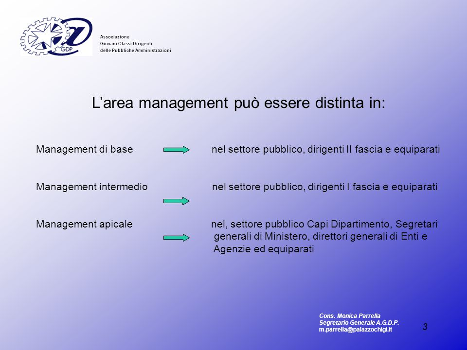 L'area management può essere distinta in: