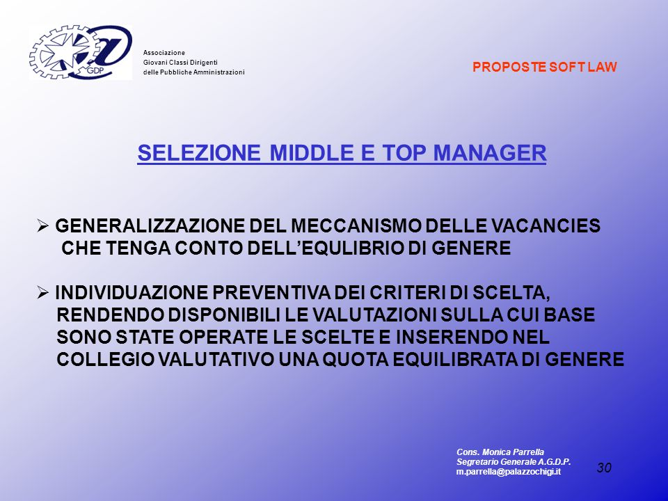 SELEZIONE MIDDLE E TOP MANAGER