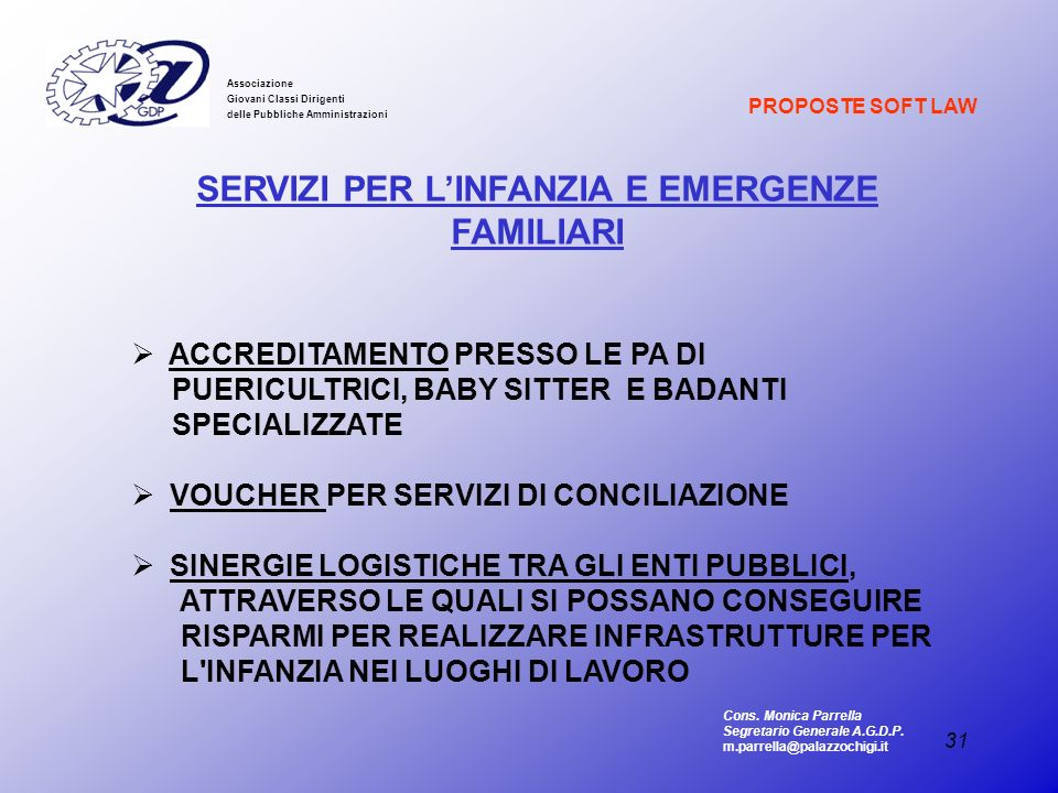 SERVIZI PER L'INFANZIA E EMERGENZE FAMILIARI