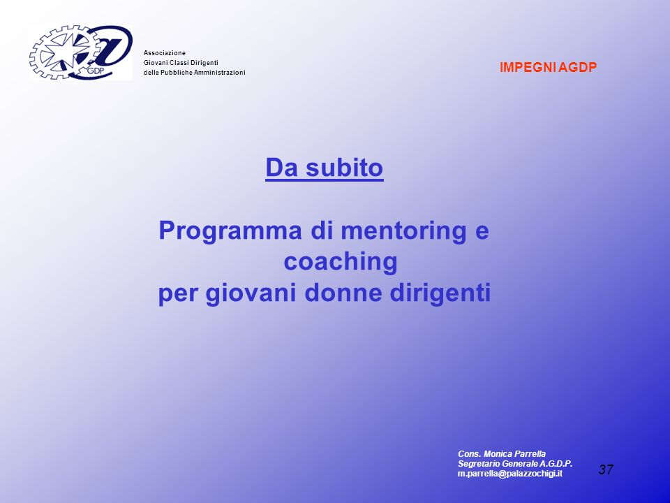 Programma di mentoring e coaching per giovani donne dirigenti