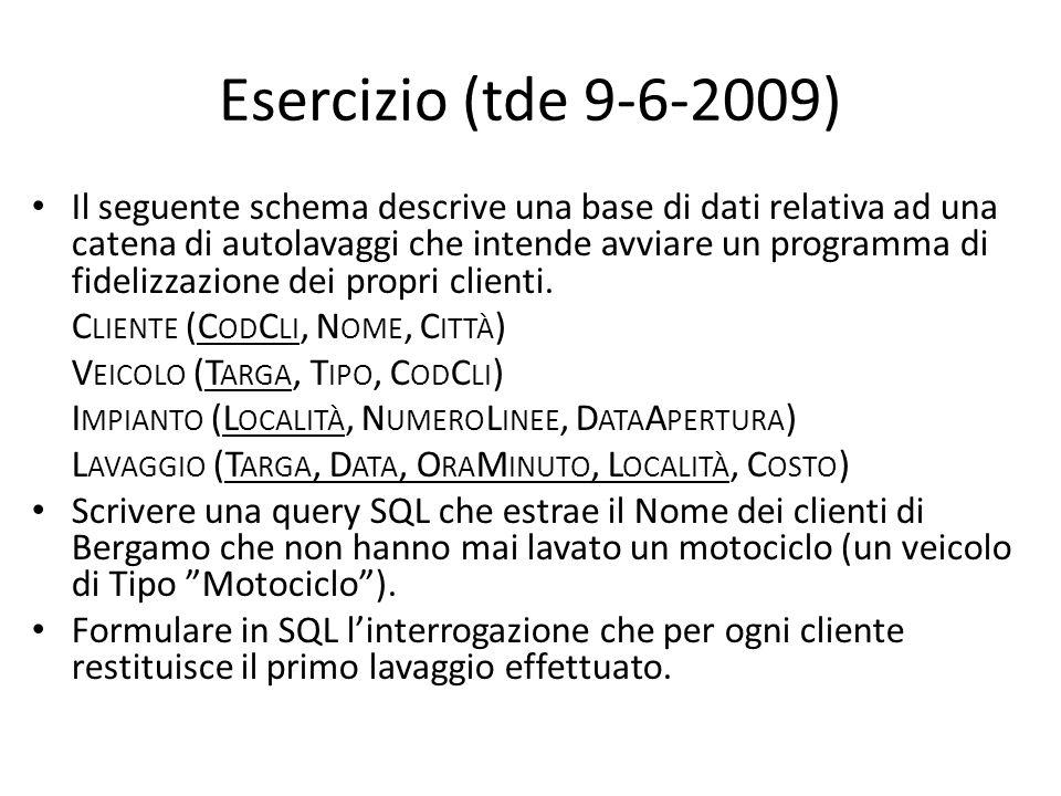 Esercizio (tde 9-6-2009)