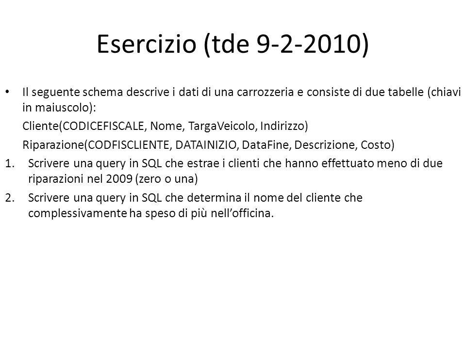 Esercizio (tde 9-2-2010) Il seguente schema descrive i dati di una carrozzeria e consiste di due tabelle (chiavi in maiuscolo):