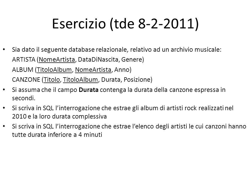 Esercizio (tde 8-2-2011) Sia dato il seguente database relazionale, relativo ad un archivio musicale: