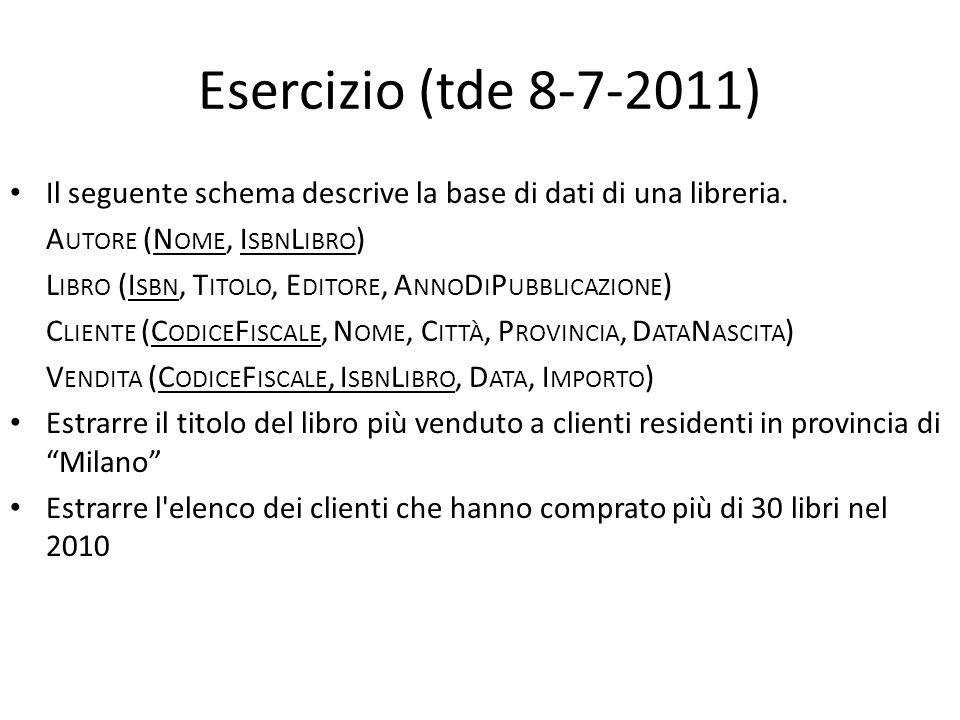 Esercizio (tde 8-7-2011) Il seguente schema descrive la base di dati di una libreria. Autore (Nome, IsbnLibro)