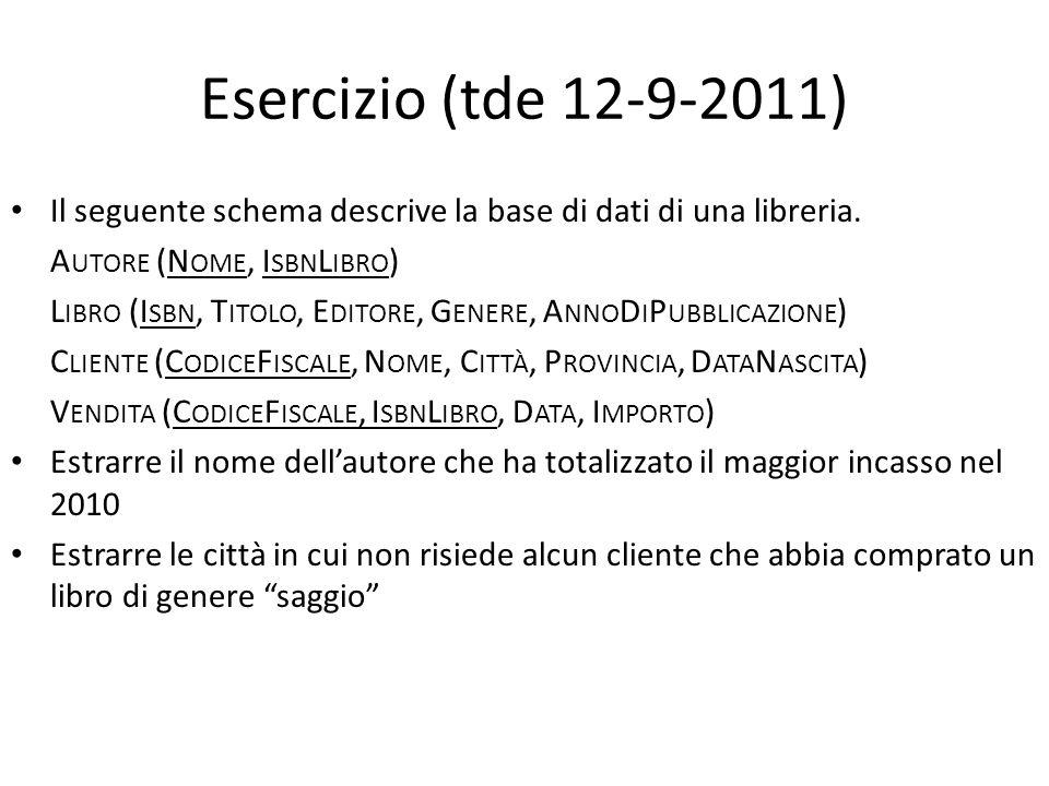 Esercizio (tde 12-9-2011) Il seguente schema descrive la base di dati di una libreria. Autore (Nome, IsbnLibro)