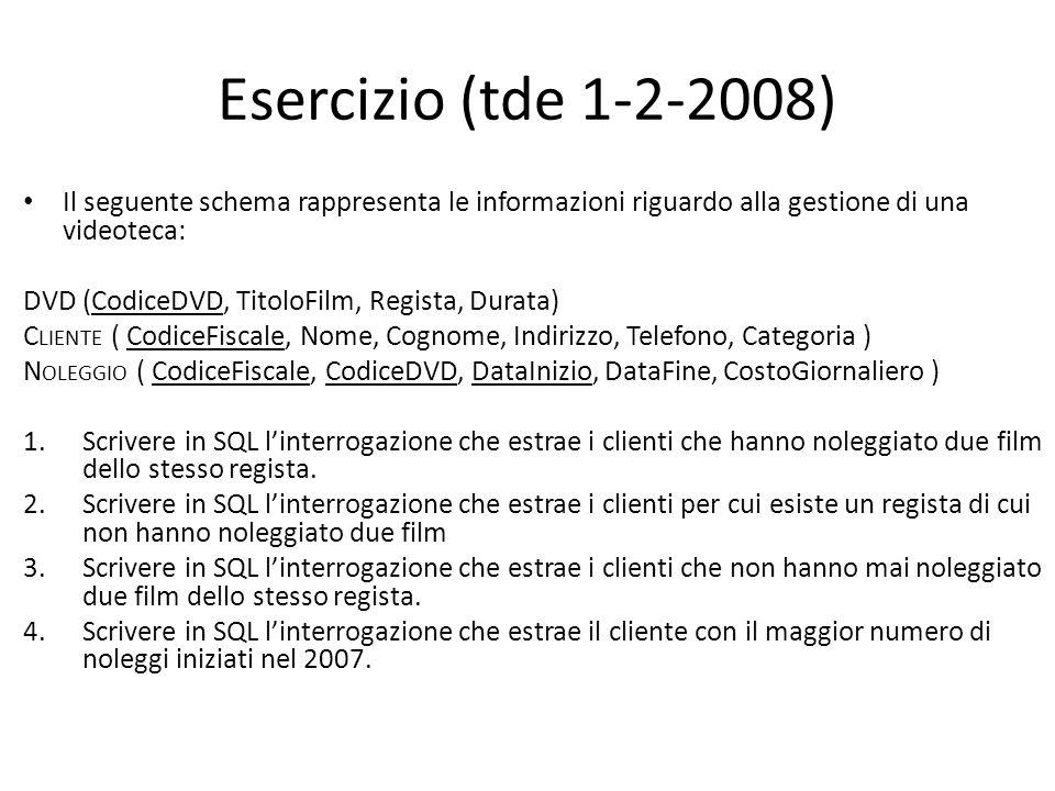 Esercizio (tde 1-2-2008) Il seguente schema rappresenta le informazioni riguardo alla gestione di una videoteca: