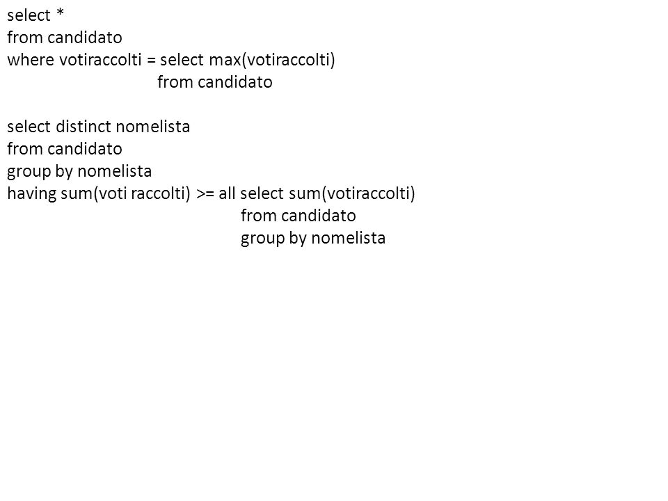 select * from candidato where votiraccolti = select max(votiraccolti) select distinct nomelista group by nomelista having sum(voti raccolti) >= all select sum(votiraccolti)