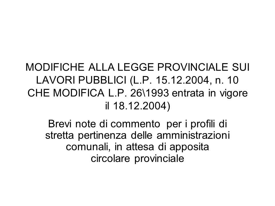 MODIFICHE ALLA LEGGE PROVINCIALE SUI LAVORI PUBBLICI (L. P. 15. 12