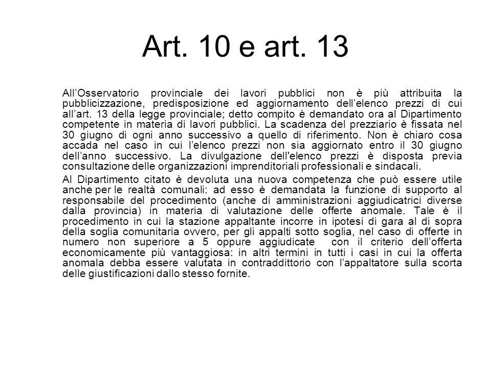 Art. 10 e art. 13