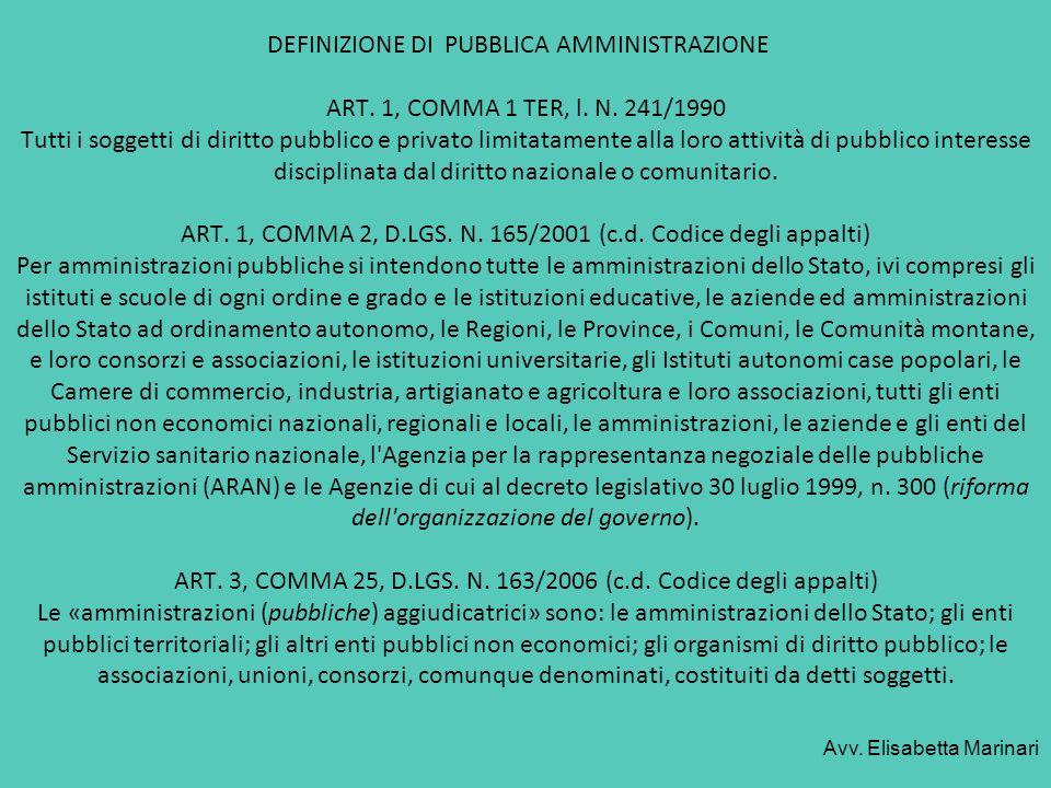 DEFINIZIONE DI PUBBLICA AMMINISTRAZIONE. ART. 1, COMMA 1 TER, l. N