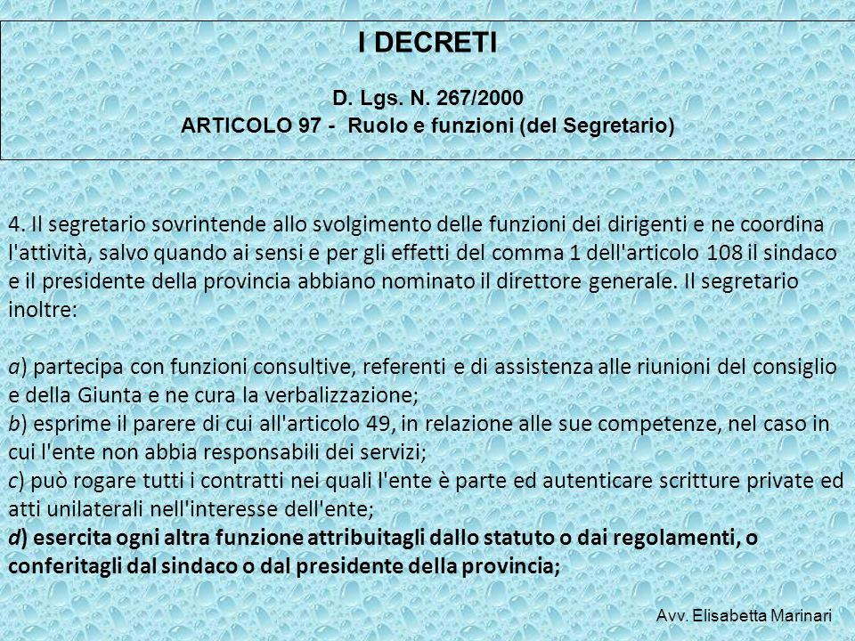 D. Lgs. N. 267/2000 ARTICOLO 97 - Ruolo e funzioni (del Segretario)