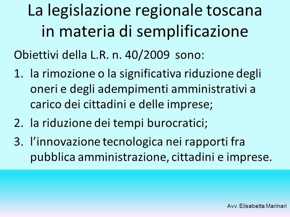 La legislazione regionale toscana in materia di semplificazione