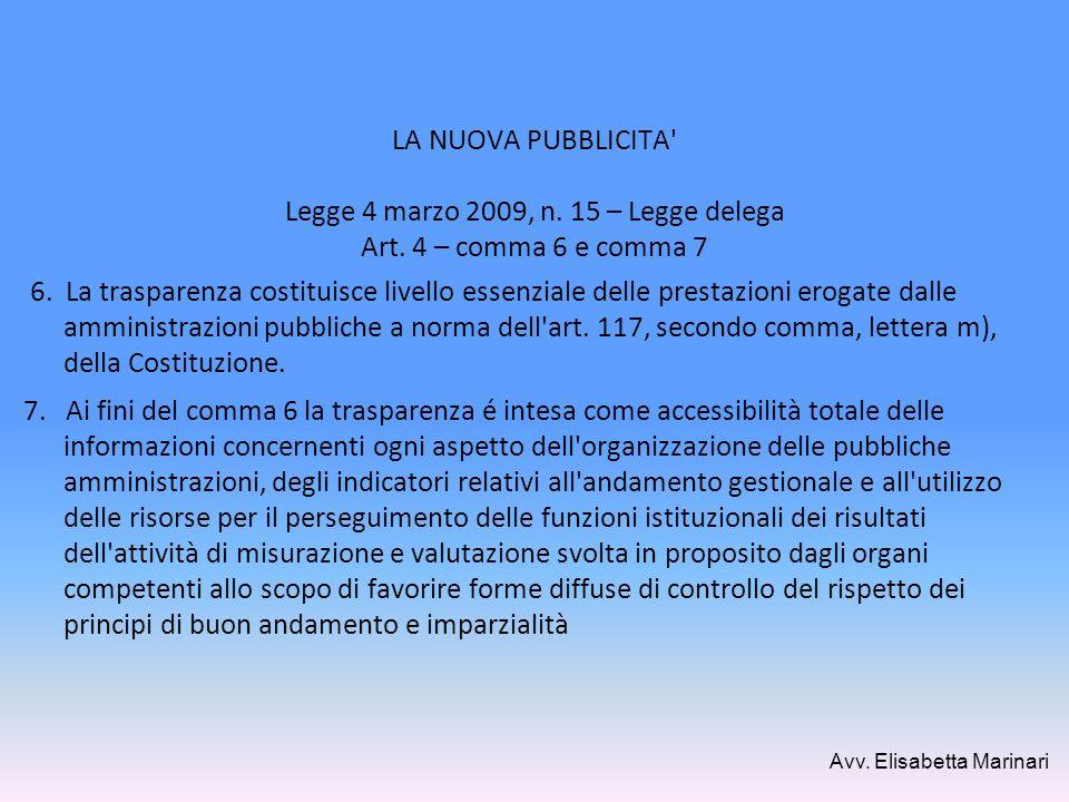 LA NUOVA PUBBLICITA Legge 4 marzo 2009, n. 15 – Legge delega Art