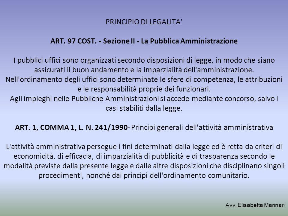 PRINCIPIO DI LEGALITA ART. 97 COST