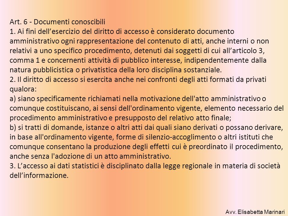 Art. 6 - Documenti conoscibili 1