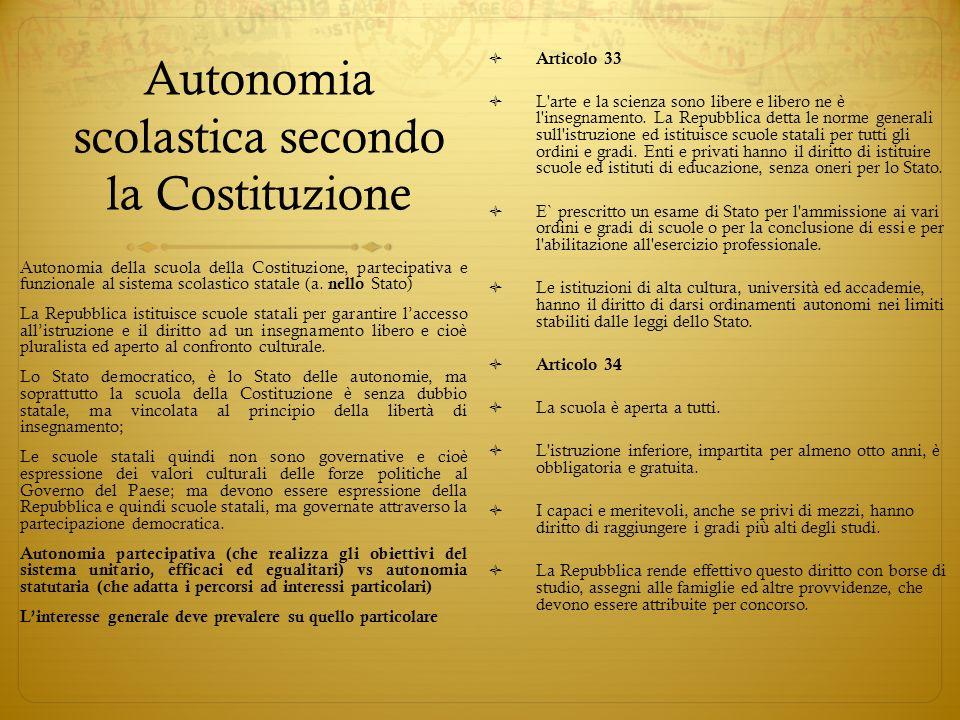 Autonomia scolastica secondo la Costituzione