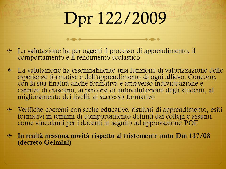 Dpr 122/2009La valutazione ha per oggetti il processo di apprendimento, il comportamento e il rendimento scolastico.