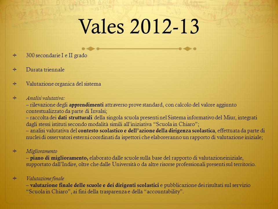 Vales 2012-13 300 secondarie I e II grado Durata triennale