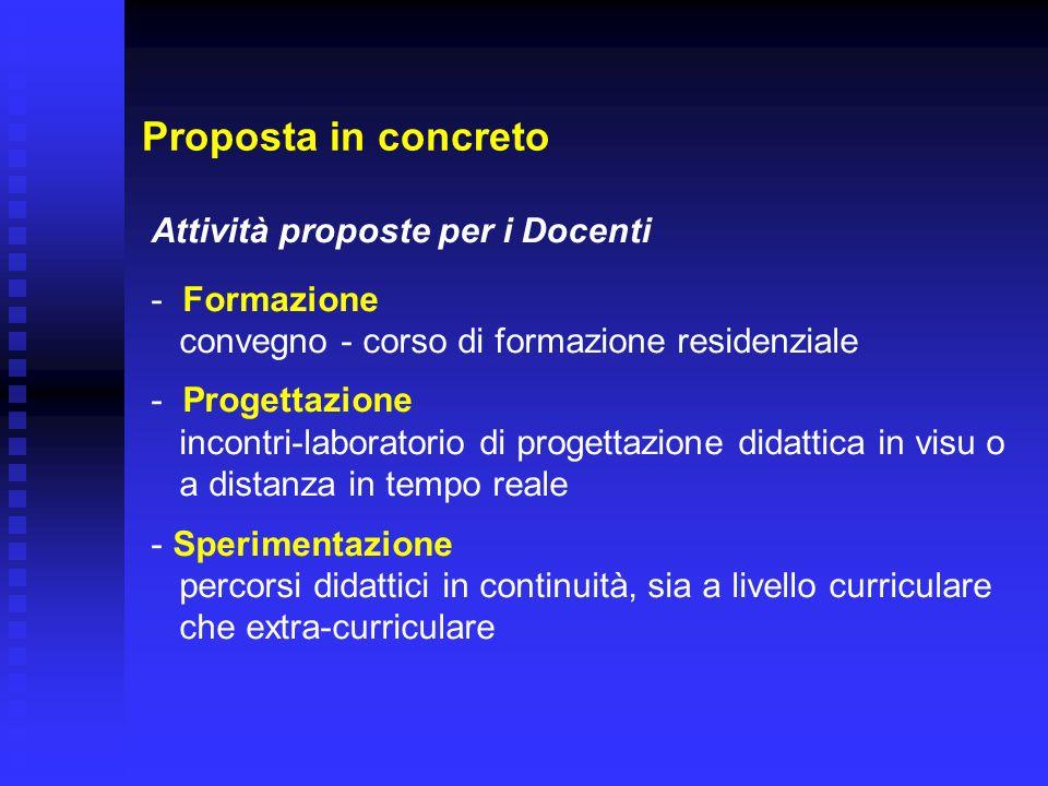 Proposta in concreto Attività proposte per i Docenti Formazione