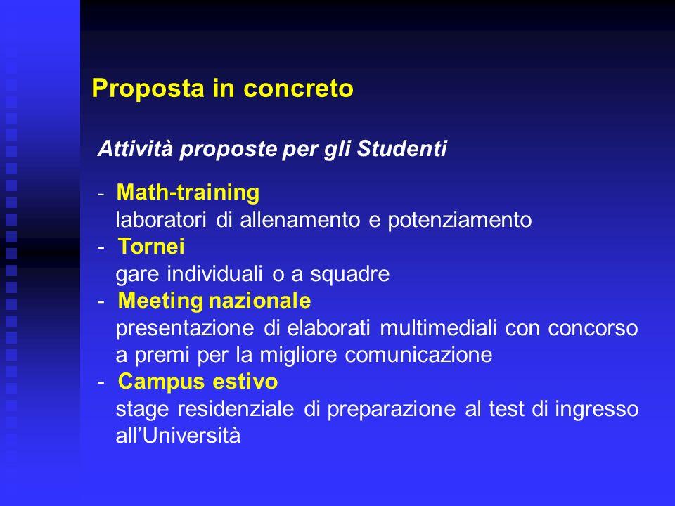 Proposta in concreto Attività proposte per gli Studenti