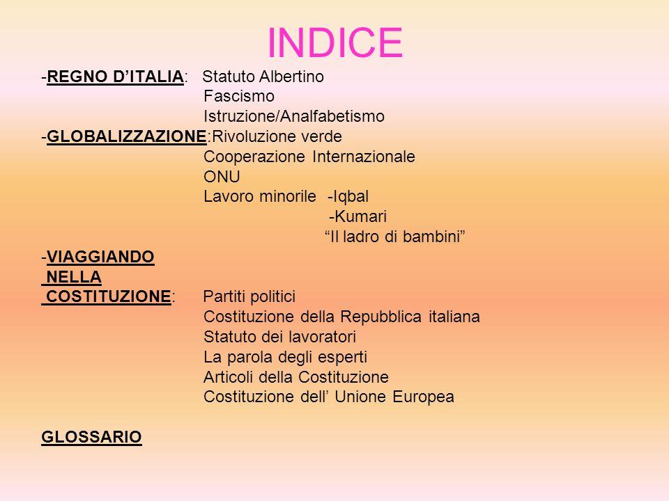 INDICE -REGNO D'ITALIA: Statuto Albertino Fascismo