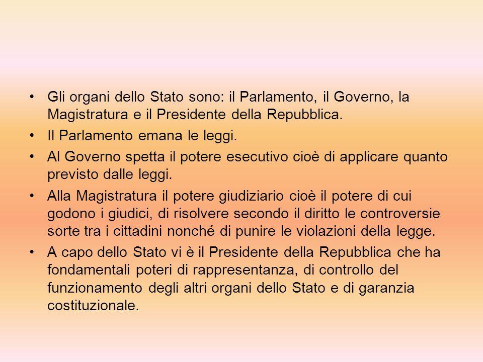 Gli organi dello Stato sono: il Parlamento, il Governo, la Magistratura e il Presidente della Repubblica.