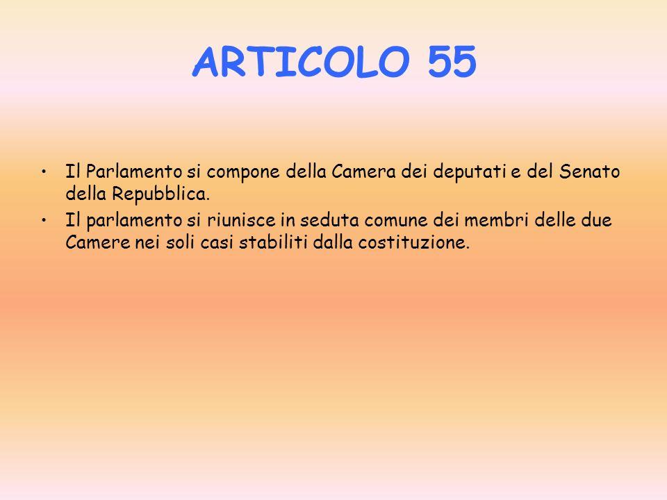 ARTICOLO 55 Il Parlamento si compone della Camera dei deputati e del Senato della Repubblica.