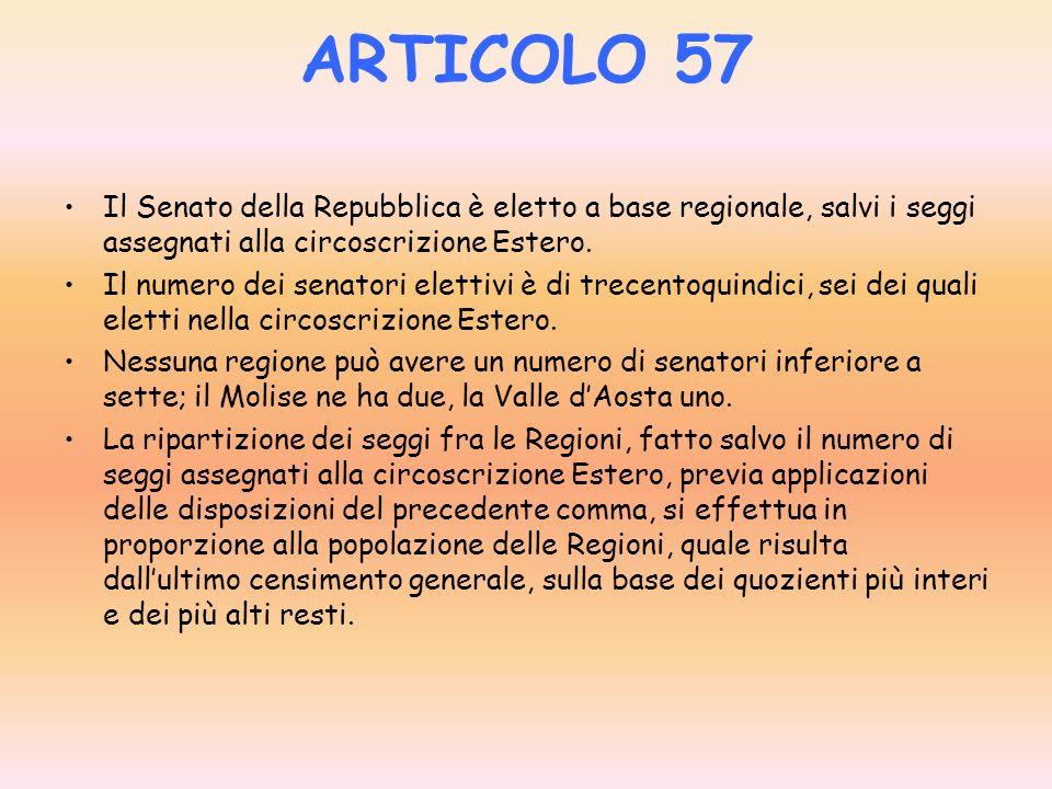 ARTICOLO 57 Il Senato della Repubblica è eletto a base regionale, salvi i seggi assegnati alla circoscrizione Estero.