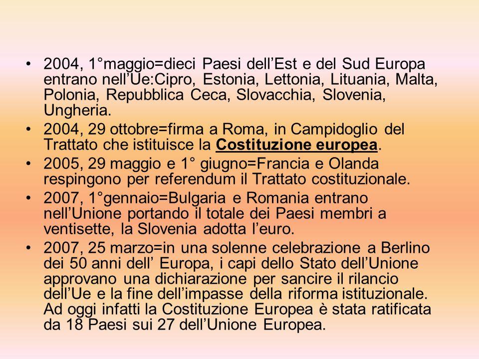 2004, 1°maggio=dieci Paesi dell'Est e del Sud Europa entrano nell'Ue:Cipro, Estonia, Lettonia, Lituania, Malta, Polonia, Repubblica Ceca, Slovacchia, Slovenia, Ungheria.