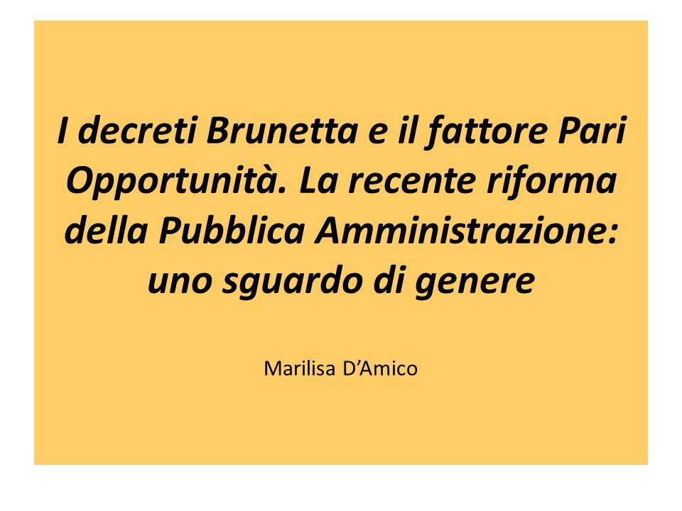 I decreti Brunetta e il fattore Pari Opportunità