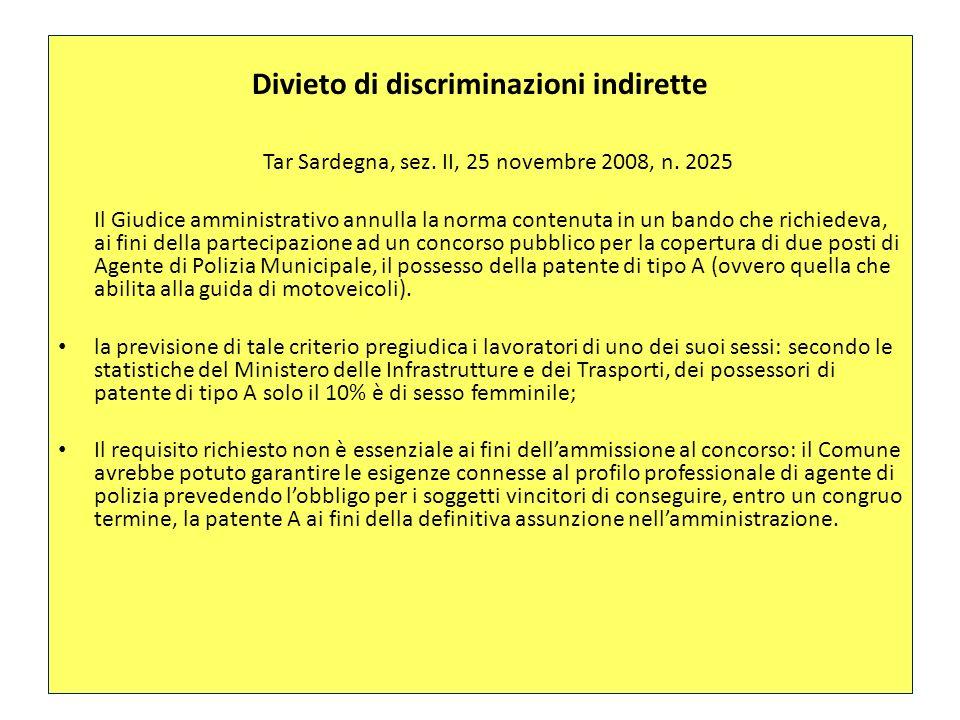 Divieto di discriminazioni indirette