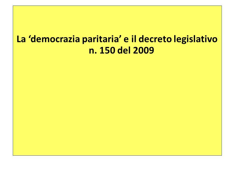 La 'democrazia paritaria' e il decreto legislativo n. 150 del 2009