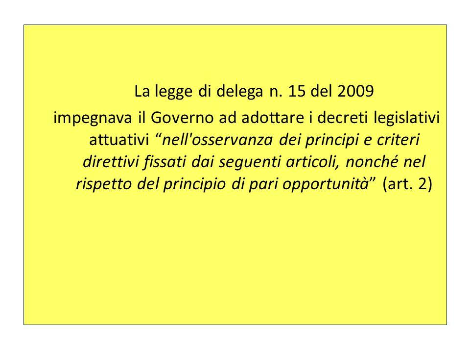 La legge di delega n. 15 del 2009