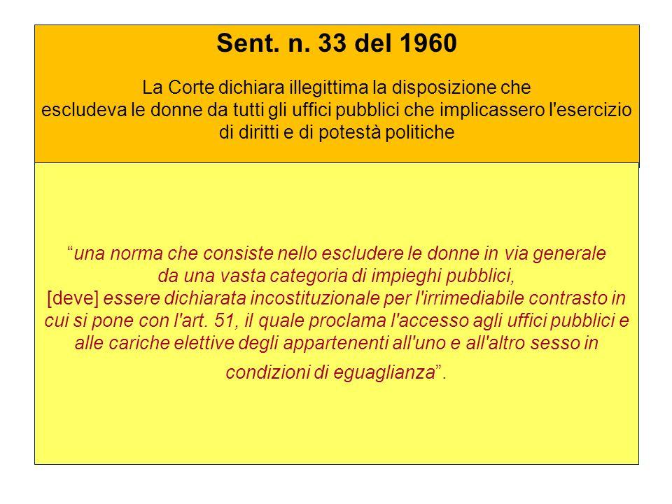 Sent. n. 33 del 1960 La Corte dichiara illegittima la disposizione che