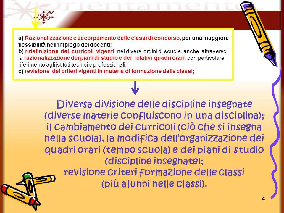 revisione criteri formazione delle classi (più alunni nelle classi).