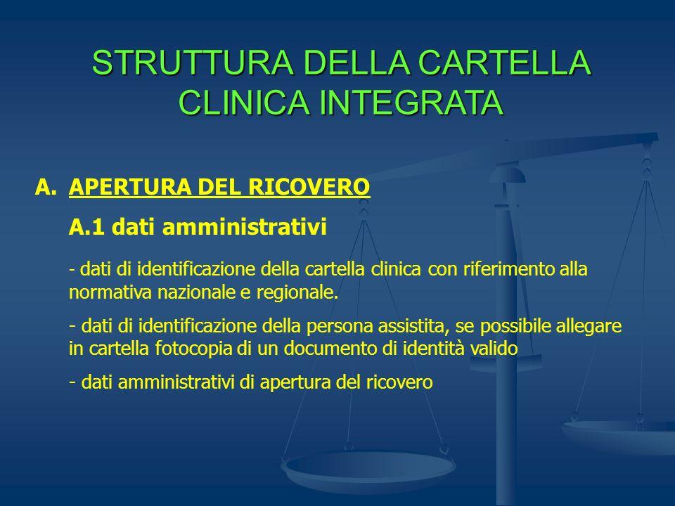 STRUTTURA DELLA CARTELLA CLINICA INTEGRATA