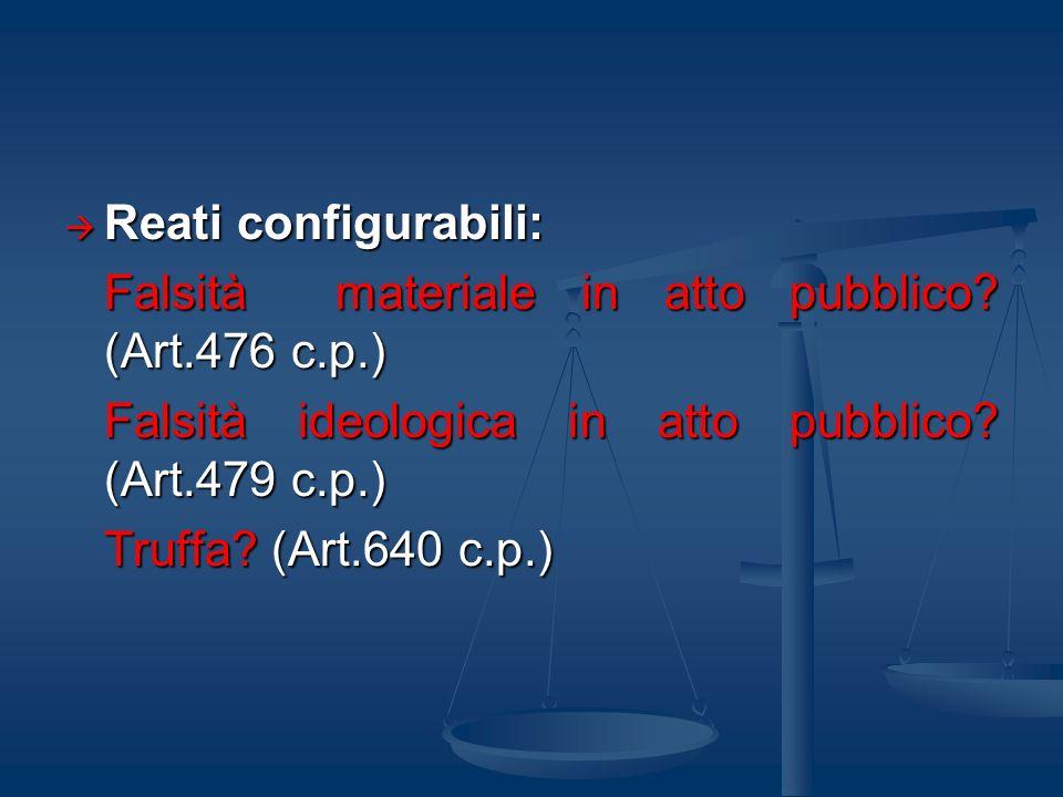 Reati configurabili: Falsità materiale in atto pubblico (Art.476 c.p.) Falsità ideologica in atto pubblico (Art.479 c.p.)