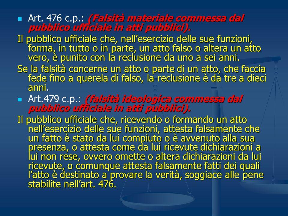 Art. 476 c.p.: (Falsità materiale commessa dal pubblico ufficiale in atti pubblici).
