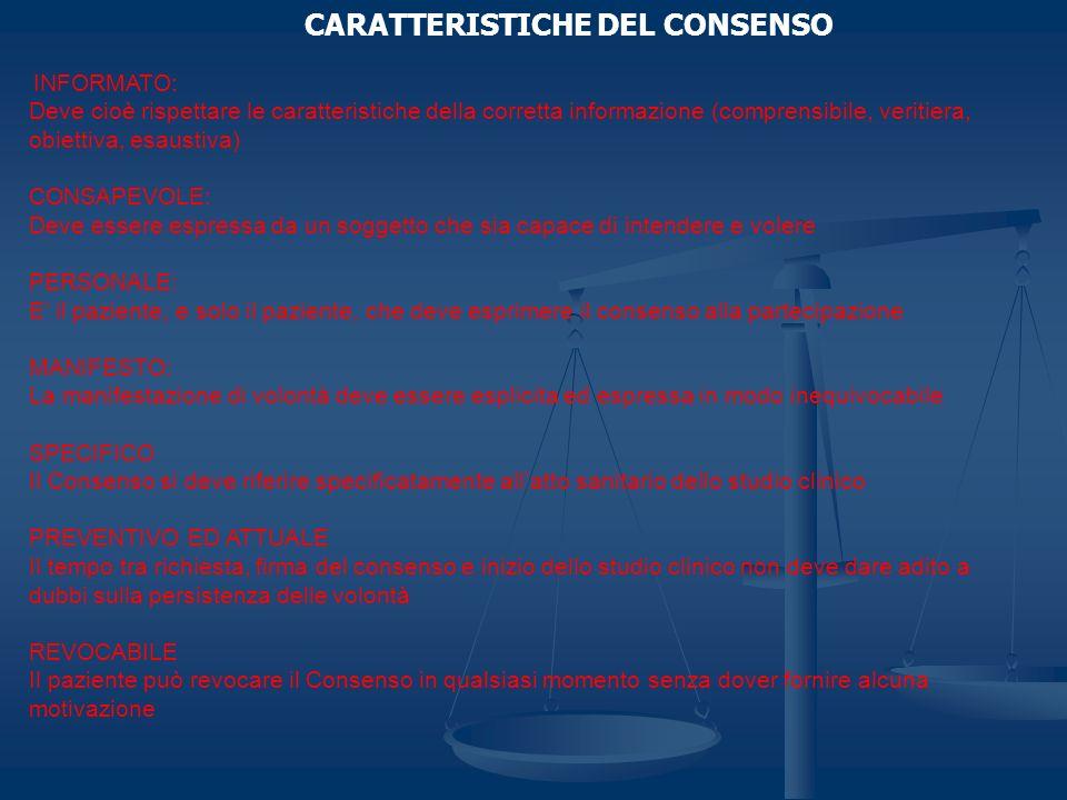 CARATTERISTICHE DEL CONSENSO