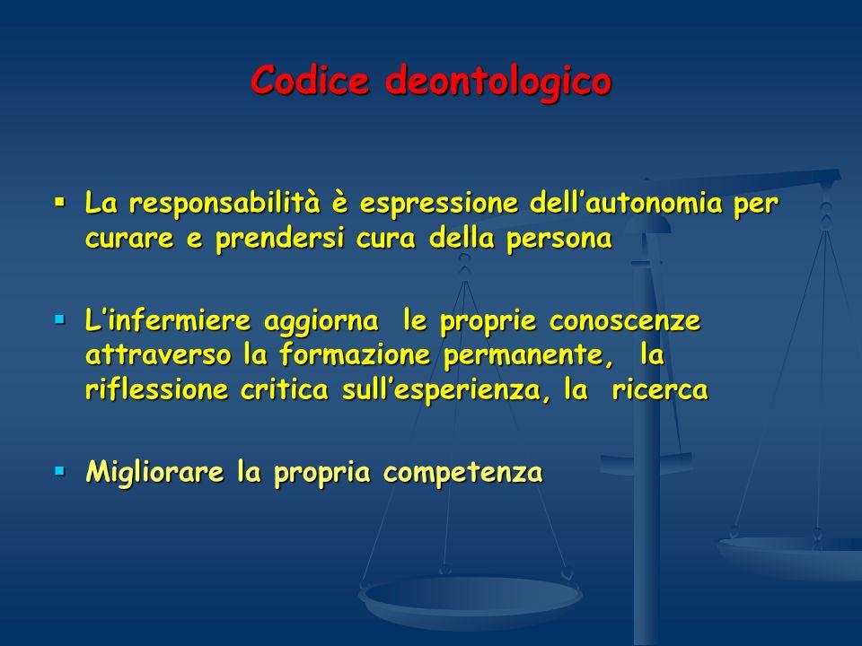 Codice deontologico La responsabilità è espressione dell'autonomia per curare e prendersi cura della persona.